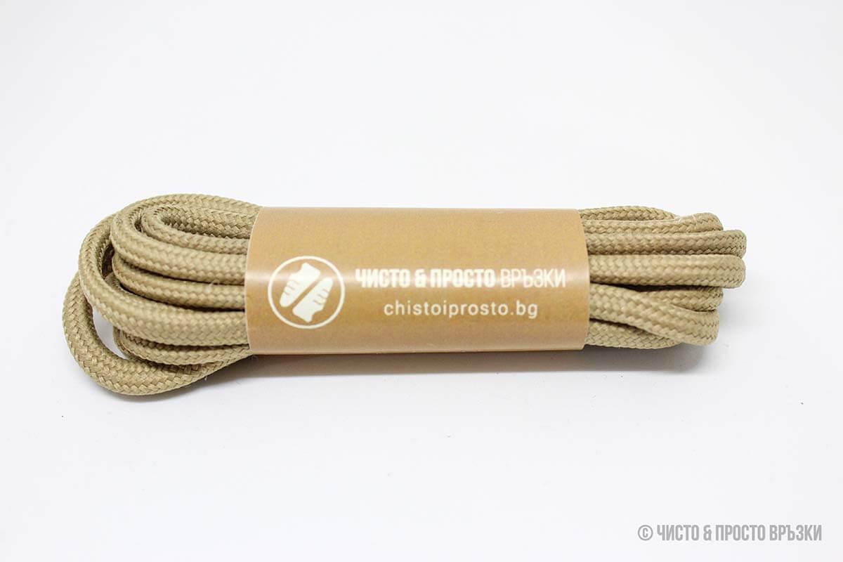 Охра, кръгли, дебели - връзки за обувки - 120 см.