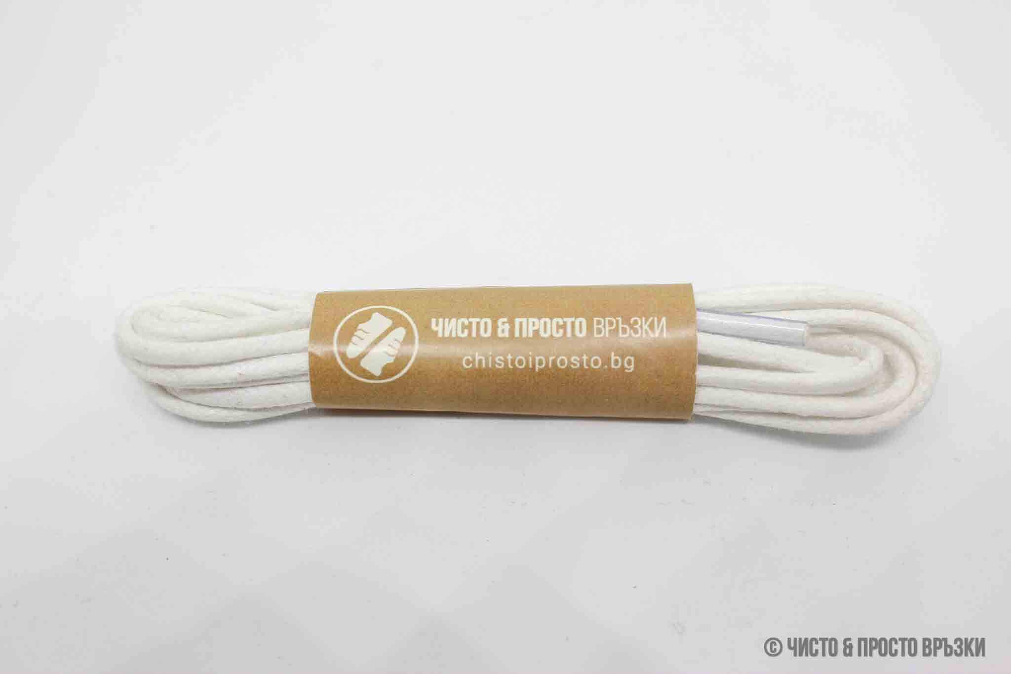 Бели, кръгли - връзки за обувки - 120 см.