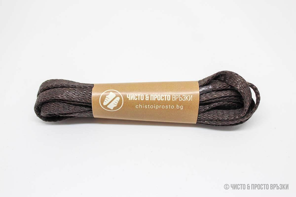 Тъмно-кафяви, плоски, тънки - връзки за обувки - 120 см.