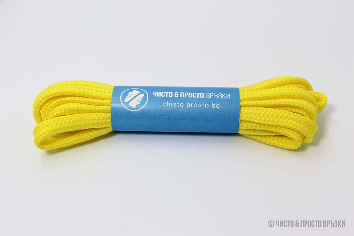 Жълти, плоски, тънки - връзки за обувки - 120 см.