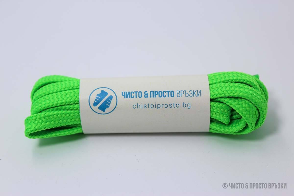 Зелени, плоски, тънки - връзки за обувки - 120 см.